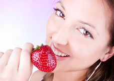 Young woman hold  fresh strawberry Stock Photos