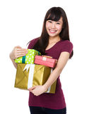 Young woman hold with gift box Stock Photography