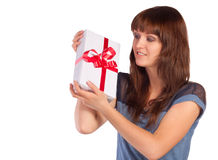 Young woman hold gift Royalty Free Stock Images