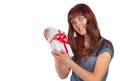 Young woman hold gift in christmas style Royalty Free Stock Image