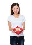 Young woman hold with giftbox Royalty Free Stock Photo