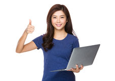 Young woman hold with notebook and thumb up Stock Images