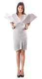Young Woman Hold Pages Of Paper. Paperworker Stock Images