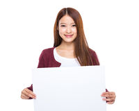 Young woman hold placard Royalty Free Stock Photos