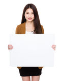 Young woman hold with placard Stock Images