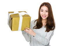 Young woman hold with present box Royalty Free Stock Images