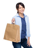 Young woman hold shopping bag Royalty Free Stock Image
