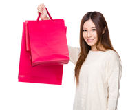 Young Woman hold with shopping bag Stock Photo