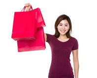Young woman hold with shopping bag Royalty Free Stock Image