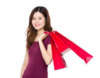 Young woman hold with shopping bag Royalty Free Stock Photo