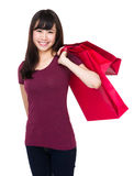 Young woman hold with shopping bag Royalty Free Stock Photography