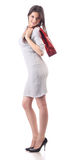 Young woman hold shopping red bag. Discount Stock Image