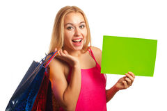 Young woman hold sign card Royalty Free Stock Photo