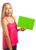 Young woman hold sign card Stock Image