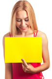 Young woman hold sign card Royalty Free Stock Photos