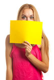 Young woman hold sign card Stock Photo