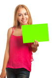 Young woman hold sign card Stock Photography