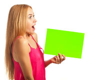 Young woman hold sign card Royalty Free Stock Image