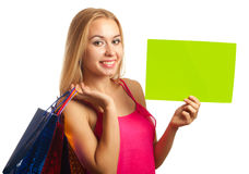 Young woman hold sign card Stock Photos