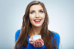 Young woman hold skin care cosmetic. Clean skin. Beauty female Royalty Free Stock Photography