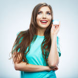 Young woman hold skin care cosmetic. Clean skin. Beauty female Royalty Free Stock Image