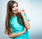 Young woman hold skin care cosmetic. Clean skin. Beauty female Stock Images