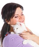Young woman hold white cat. Stock Photography