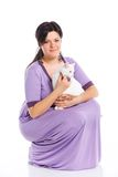 Young woman hold white cat. Royalty Free Stock Photos
