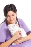 Young woman hold white cat. Stock Photos