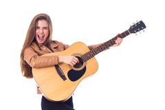 Free Young Woman Holding A Guitar Stock Photo - 81726460
