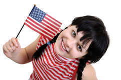 Young woman holding  American flag Royalty Free Stock Photos