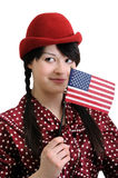 Young woman holding  American flag Stock Photography