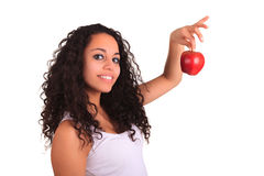Young woman holding apple. Isolated over white Royalty Free Stock Image
