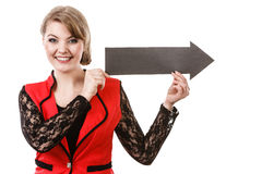 Young woman holding arrow. Stock Photos