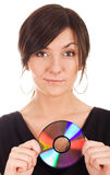Young woman holding audio disk Stock Photo