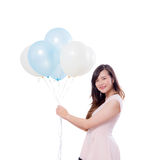 Young woman holding balloons isolated on white background. Young woman holding balloons isolated on white background lifestyle concept Stock Photography