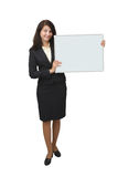Young woman holding banner Stock Images
