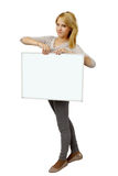 Young woman holding banner Stock Photo