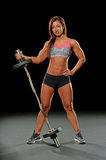 Young Woman Holding Barbell Stock Photo