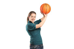 Young woman holding a basketball Stock Image