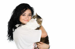 Young woman holding beautiful cat Stock Images