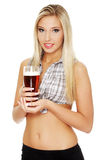 Young woman holding a beer Stock Photo