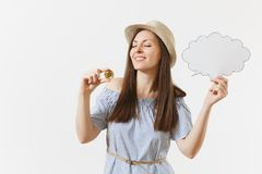 Young woman holding bitcoin, coin of golden color, empty blank Say cloud, speech bubble isolated on white background. Finance, online business, virtual royalty free stock photos