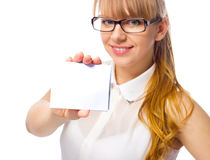 Young woman is holding blank banner Stock Images
