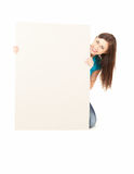 Young woman holding blank board Stock Photography