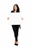 Young woman holding blank board Royalty Free Stock Photography