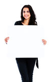 Young woman holding blank board Royalty Free Stock Image