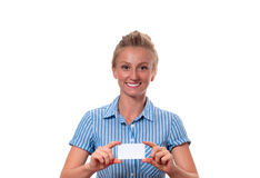 Young woman holding blank business card with copy space Royalty Free Stock Image