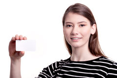 Young woman holding blank business card Stock Photography