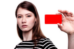 Young woman holding blank business card Stock Image